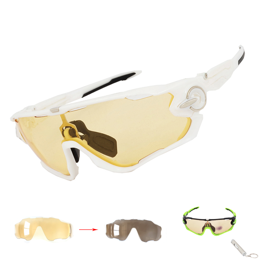 NEW Yellow Photochromic Men Women Cycling Sunglasses Sports Eyewear Bicycle Goggles Bike Racing Glasses Myopia Frame 4 lens outdoor sports cycling glasses photochromic polarized men cycling eyewear sunglasses with myopia frame