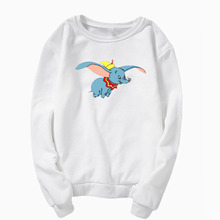 Sweatshirt round neck long-sleeved printed sweatshirt Dumbo print cute Kawaii shirt burgundy round neck letters print sweatshirt