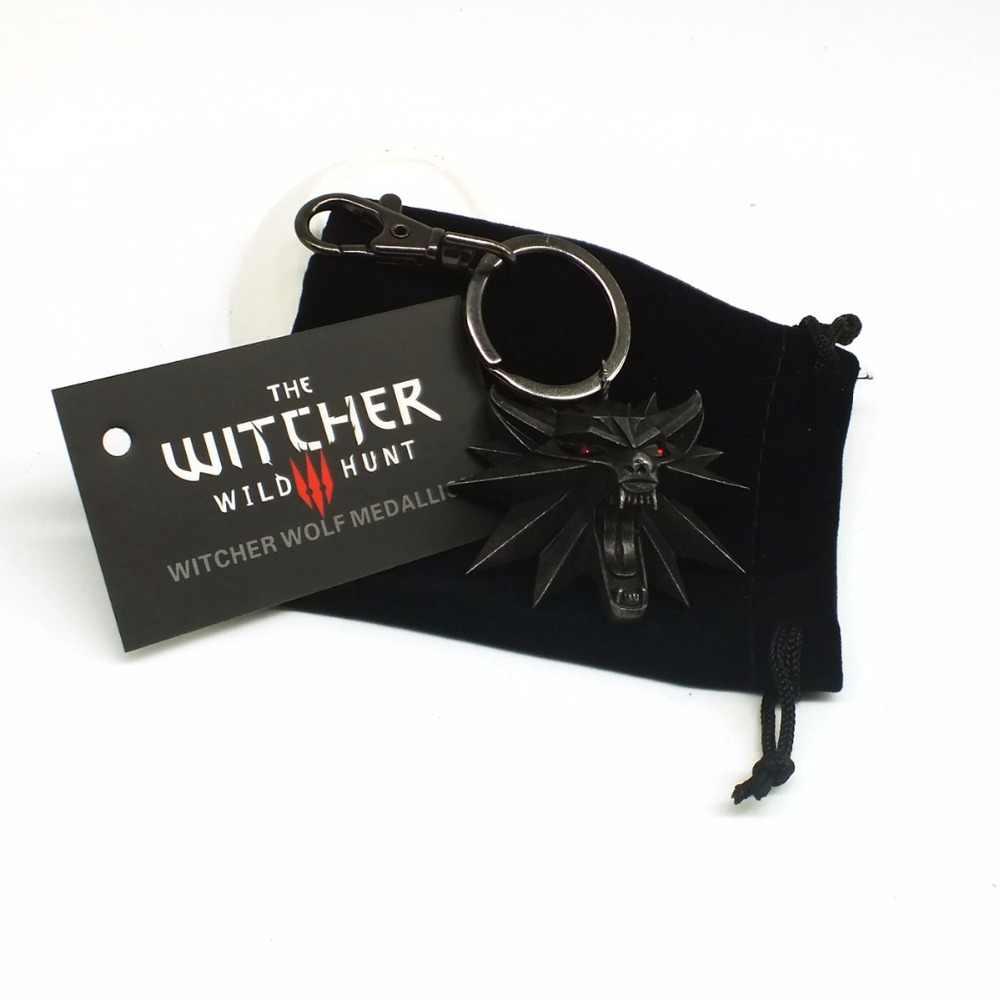 ZOEBER The Witcher 3 Caça Selvagem Medalhão 3 video game Keychain do Anel Chave Da Caça Selvagem Figura Jogo Da Cabeça do Lobo correntes Chaves da liga