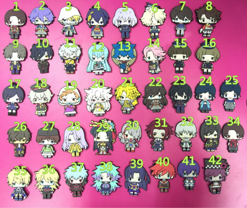 42 pcs/lot Game Touken Ranbu Online figures keychains Japanese anime vol 1 2 3 4 5 pendants phone straps free shipping ...