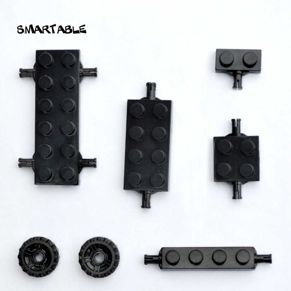 Smartable Plate Special 2x6 2x4 2x2 1x2 1x4 with Wheel Holder Building Blocks Parts DIY Toys Compatible Cars 100g/lot
