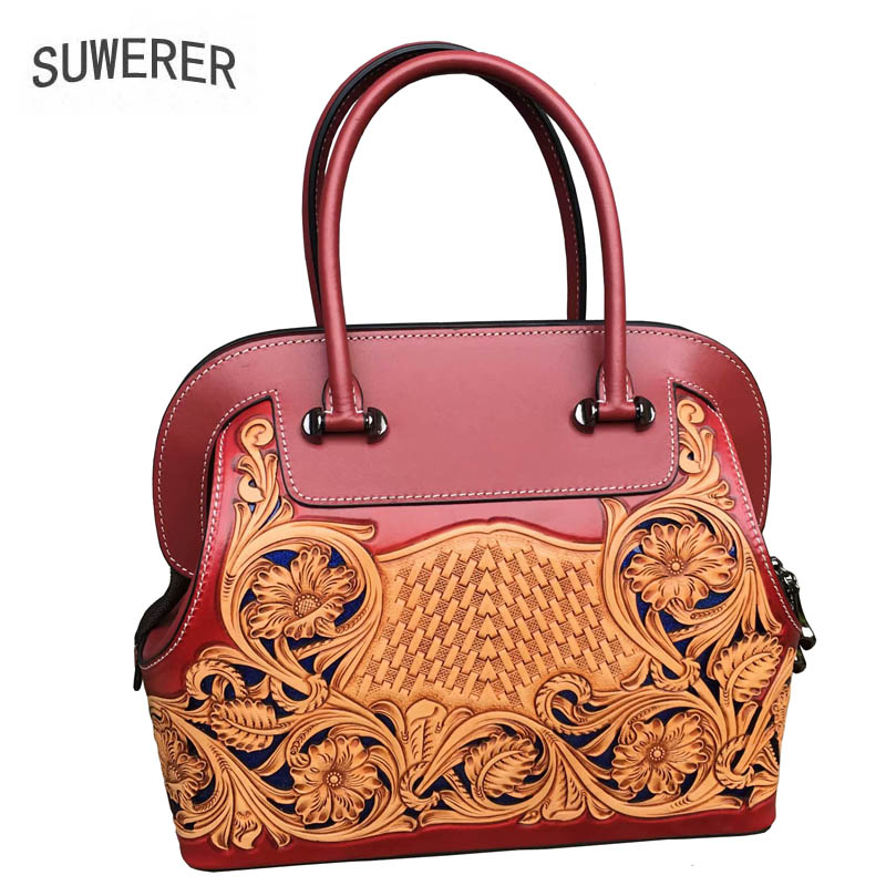 SUWERER  2019 new fashion leather ladies handbag National style retro handmade leather carving brand bag femaleSUWERER  2019 new fashion leather ladies handbag National style retro handmade leather carving brand bag female