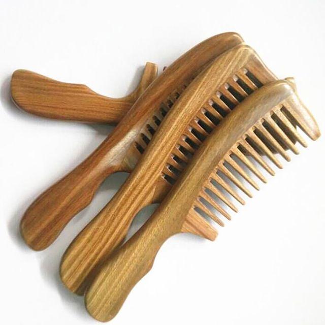 1 adet El Yapımı Ince Diş Statik Yeşil Sandal Ağacı Cep Saç Sakal Bıyık Tarak Güzellik Saç Tarak Bakım Maquiagem Güzellik