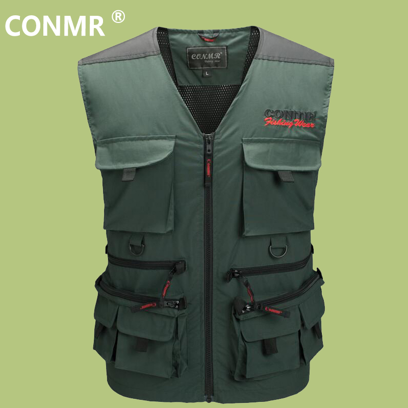 CONMR Waterproof Fishing Vest Professional Multi-Pocket Photography Journalist Reporter Mesh Waistcoats Rock Sea Ice Jacket professional multi pocket fly fishing vest sleeveless waterproof life rescue jacket outdoor photography clothing sea wear shirts