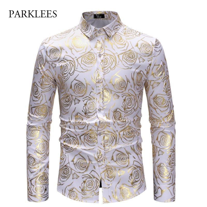 Brand White Nightclub Shirt Men Shiny Bronzing Rose Flower Chemise Homme Party Wedding Dinner Prom Mens Dress Shirts Slim Camisa