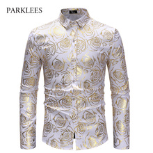 Brand White Nightclub Shirt Men Shiny Bronzing Rose Flower Chemise Homme Party Wedding Dinner Prom Mens Dress Shirts Slim Camisa