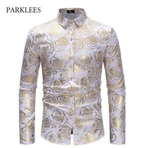 Image 1 - Brand White Nightclub Shirt Men Shiny Bronzing Rose Flower Chemise Homme Party Wedding Dinner Prom Mens Dress Shirts Slim Camisa
