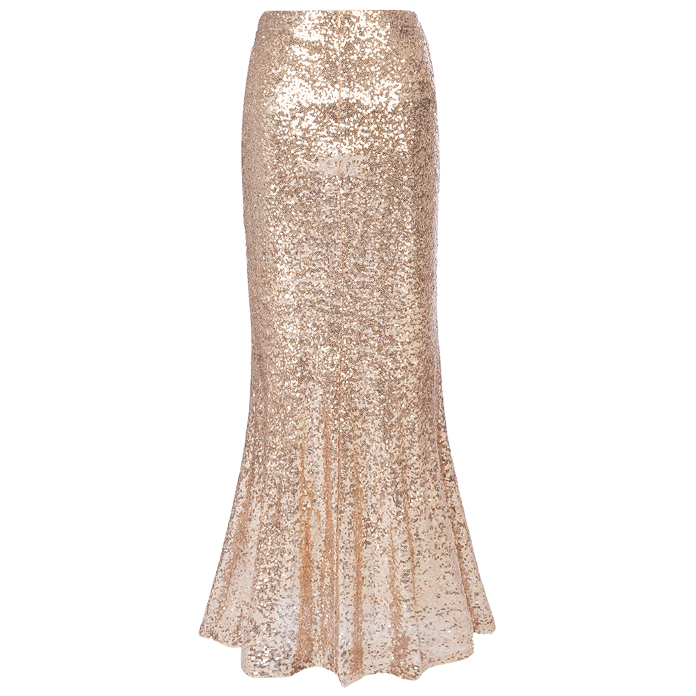 d411637553 Gold Long Skirt Hot Sequins Women faldas Sparkle Glitter Maxi Skirts  Elegent Party Cocktail Ladies Petticoat Purple Red 2XL-in Skirts from  Women's Clothing ...