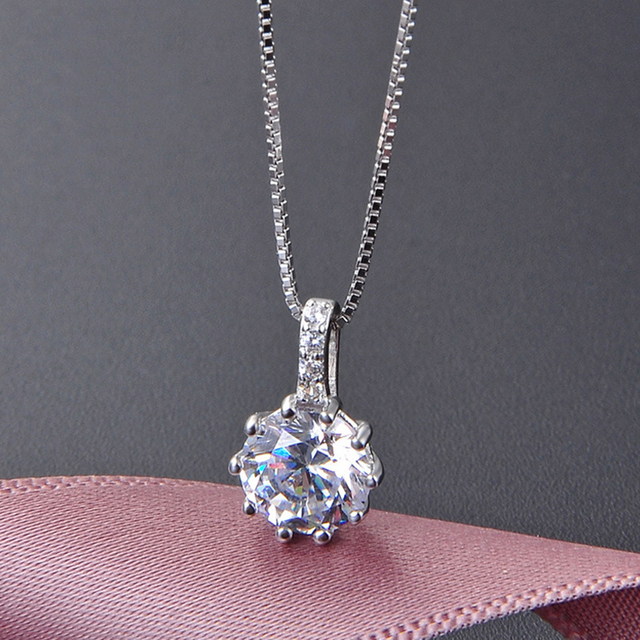 OneQuarter Fashion Women Pendant Necklaces S925 Sterling Silver Zircon Long Necklaces Ladies Popular Clavicle Chain Jewelry Hot