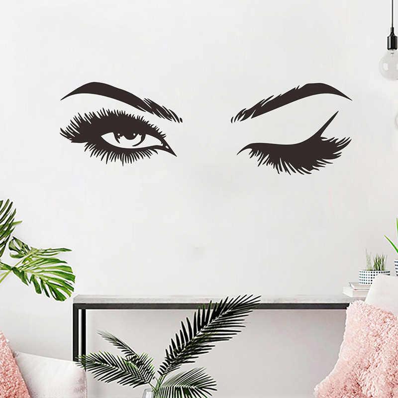 Hot Sale Seni Decals Stiker Dinding Mural Kreatif 1Set Wallpaper Rumah Dekorasi Gadis Kamar Ruang Tamu Cantik Bulu Mata