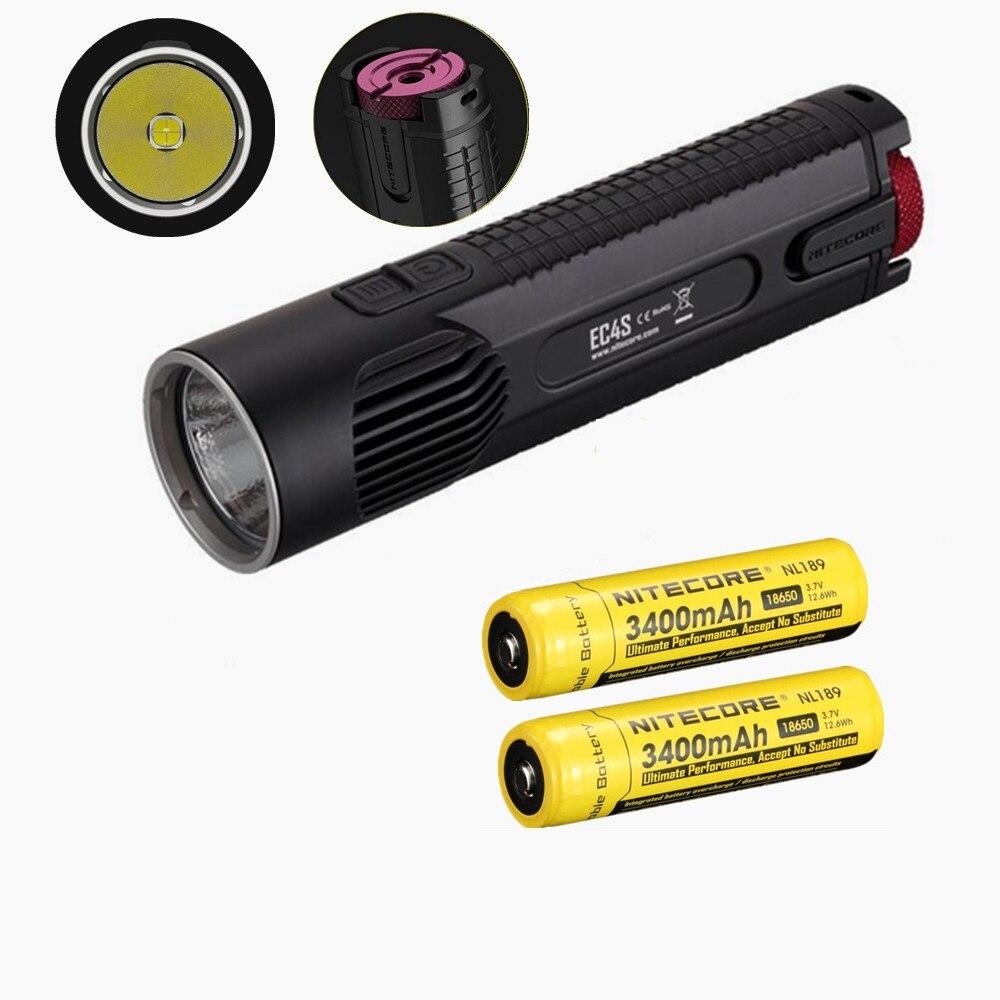 Nitecore EC4S boîtier unibody lampe de poche LED avec 2 pièces nitecore 18650 3100 mah batterie 2150 lumens XHP50 LED étanche