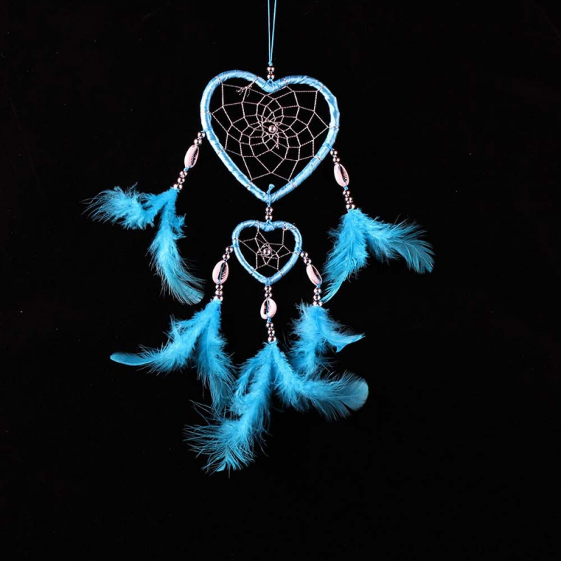 2017 Hot Design Circular Heart Shape Feathers Wall Hanging