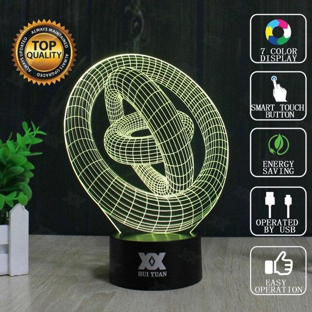 Abstract Circular 3D Lamp USB Novelty Night Lights Three-dimensional ring Lamp Glowing Child's Gift HUI YUAN Brand