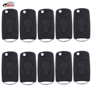 KEYECU 10 Pcs/lot New Replacement Modified Folding Flip Remote Car Key Shell Case Fob 2 Button for SsangYong Actyon, SUV, Rexton