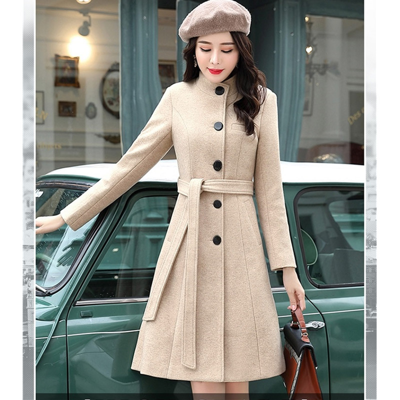 Женская куртка UHYTGF, Длинная ветровка с поясом и стоячим воротником, 923