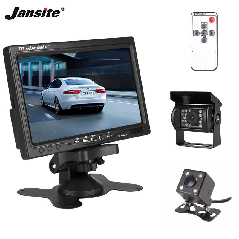 "Jansite 7"" TFT LCD Car Monitor Display Waterproof Backup Reverse Camera Wired Cameras Parking System for Car Rearview Monitors"