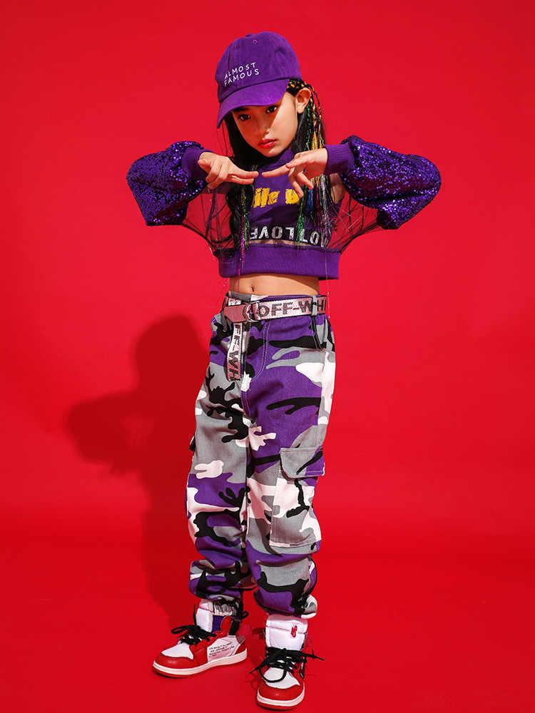 Детский комплект для уличных танцев; Одежда для девочек в стиле хип-хоп; Детские костюмы для джазовых танцев; Одежда для выступлений в стиле хип-хоп; Два комплекта с блестками