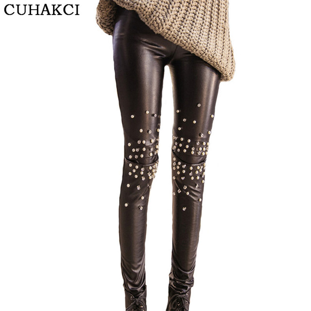 55873354a281 Brand Faux Leather Pants Female Sexy Rivet Trousers Calzas Mujer Stretch  New Pencil Pant Very Warm