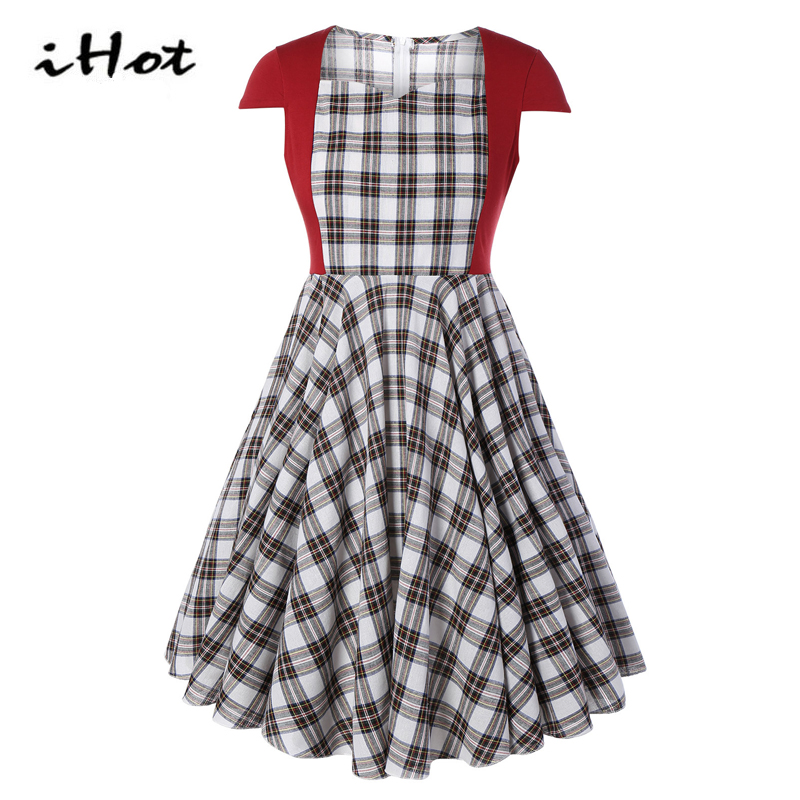 Summer elegant dress ladies fashion font b tartan b font plaid party casual skater rockabilly plus