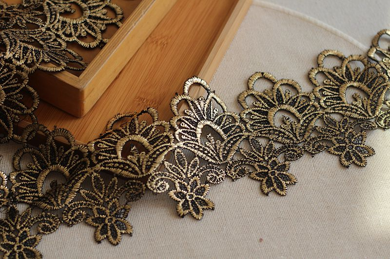 4 inch wide  Metallic gold 35 inch cut Venise Lace