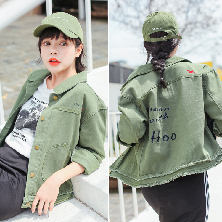 Women Short Denim   Basic     Jacket   Coats Female Army Green White Solid Color Jeans   Jackets   Outwear students joker BF   jacket