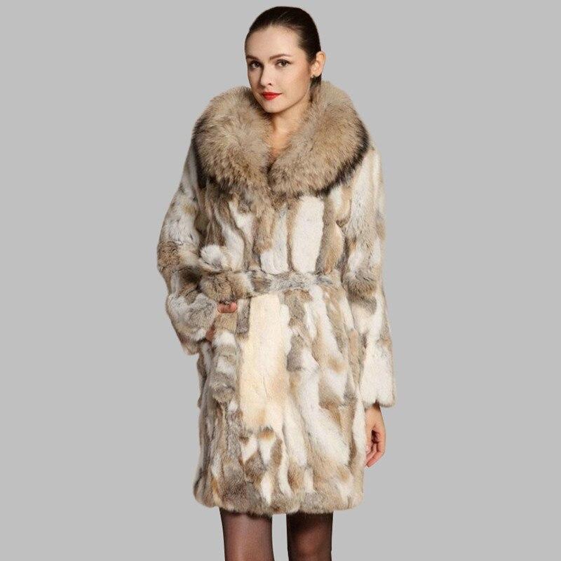 Trendy Hot-Selling Real Fur Coat Women Pieces Of Natural Rabbit Fur Coats Warm Raccoon Collar Jackets Coat Outerwear JN123