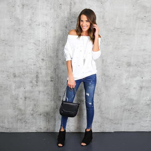 Mooistar #4005 Womens Hole Ripped Long Sleeve Off The Shoulder Shirt Loose Casual T-Shirt  3