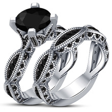 HUITAN Noble 2PC Couple Ring Band Trendy Black Stone Solitare Engagement For Fashion Design Bridal Sets Wholesale