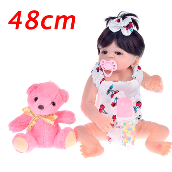 19Inch Small section bebe Reborn Alive Doll Full Body Silicone Princess Girl Baby Doll For Children's Day Gift Kids bath DIY Toy