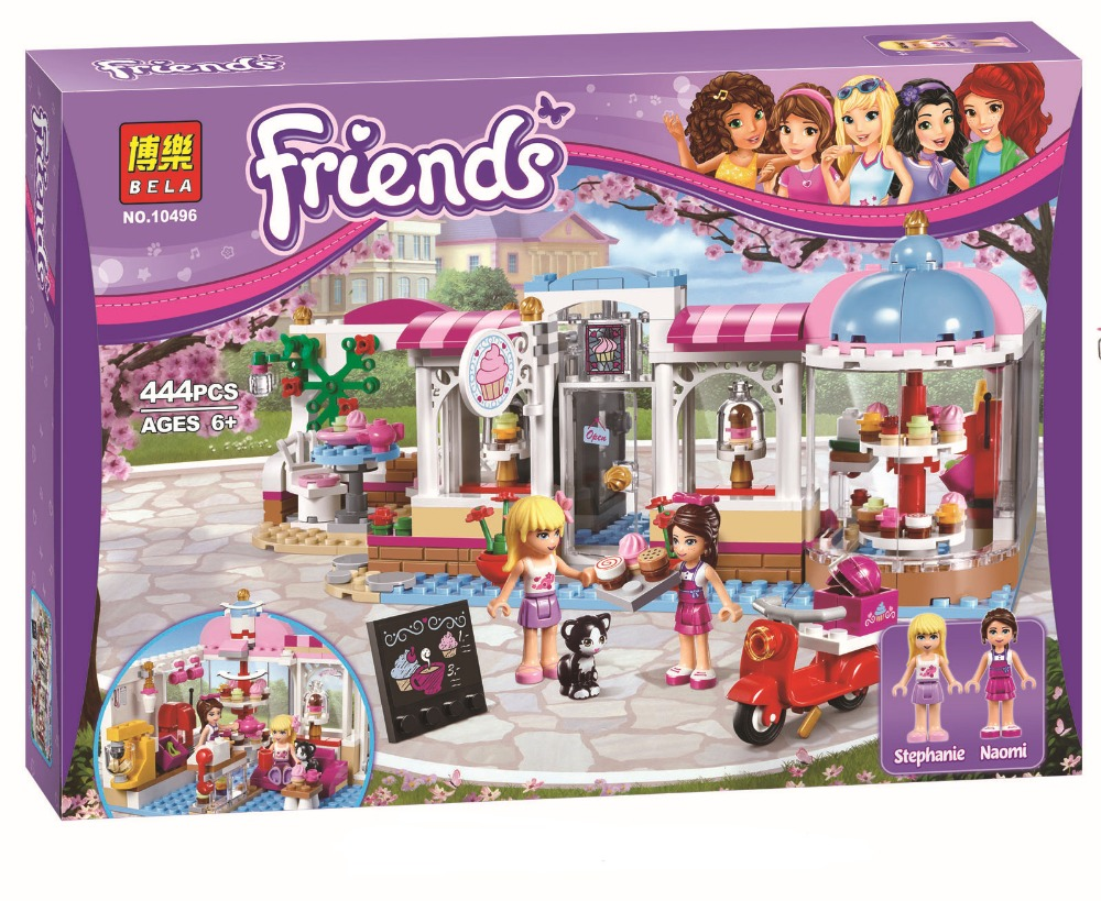 New BELA10496 Friends City Park Cafe Building Blocks Set Friends  Bricks Toys Compatible Lepin Friend For Girls 41119 new 7033 friends series the city park cafe pirate ship model building block classic girl toys compatible with lepin