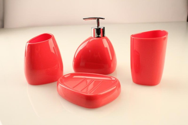 Rose Red Bathroom Set 4pieces Bath Four Pieces Acrylic Accessories Cup Soap Holder Foam Dispenser
