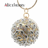 Luxury Madam Evening Clutch Diamond Pearl Wedding Party Ring Bag Women Round Ball Clutches Purse for Grils Gold Silver