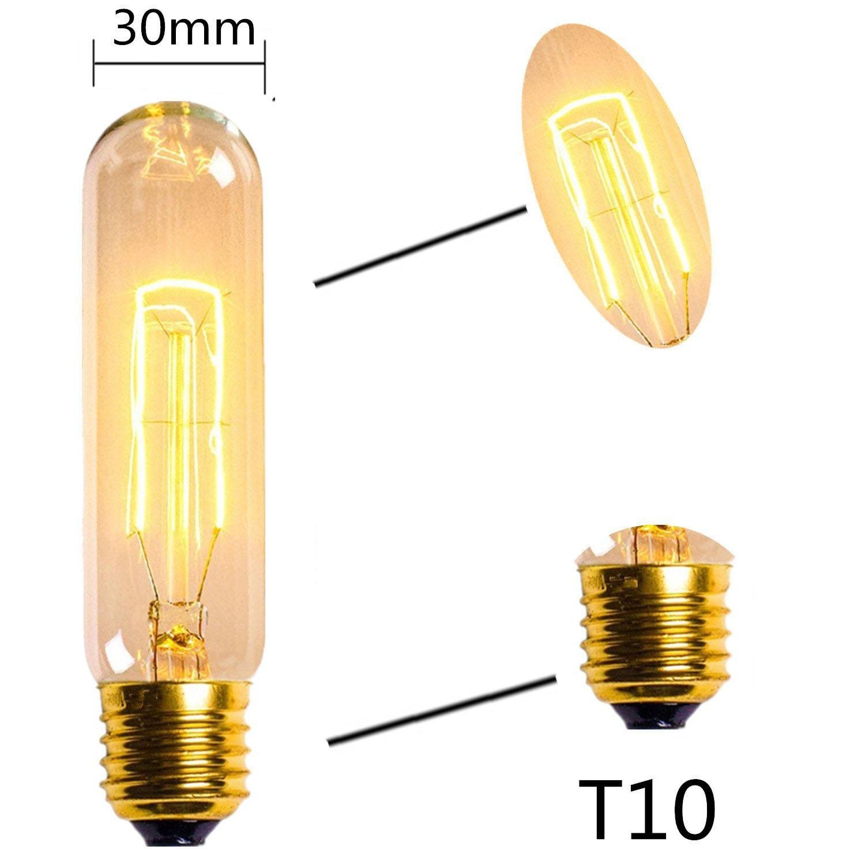 T10 40W 220V Edison Bulb Carbon Art Antique Style Edison Light Tungsten Vintage Edison Lamp Warm White E27 Halogen Lighting