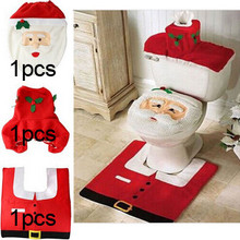 3pcs Bathroom Santa Claus Toilet Seat Cover Rug Set New Year 2016 Christmas Decoration Enfeites De