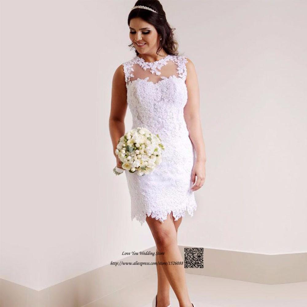 6a956aea6448e Vestido دي noiva كورتو الصين رخيصة الزفاف فستان قصير الرباط العروس ...