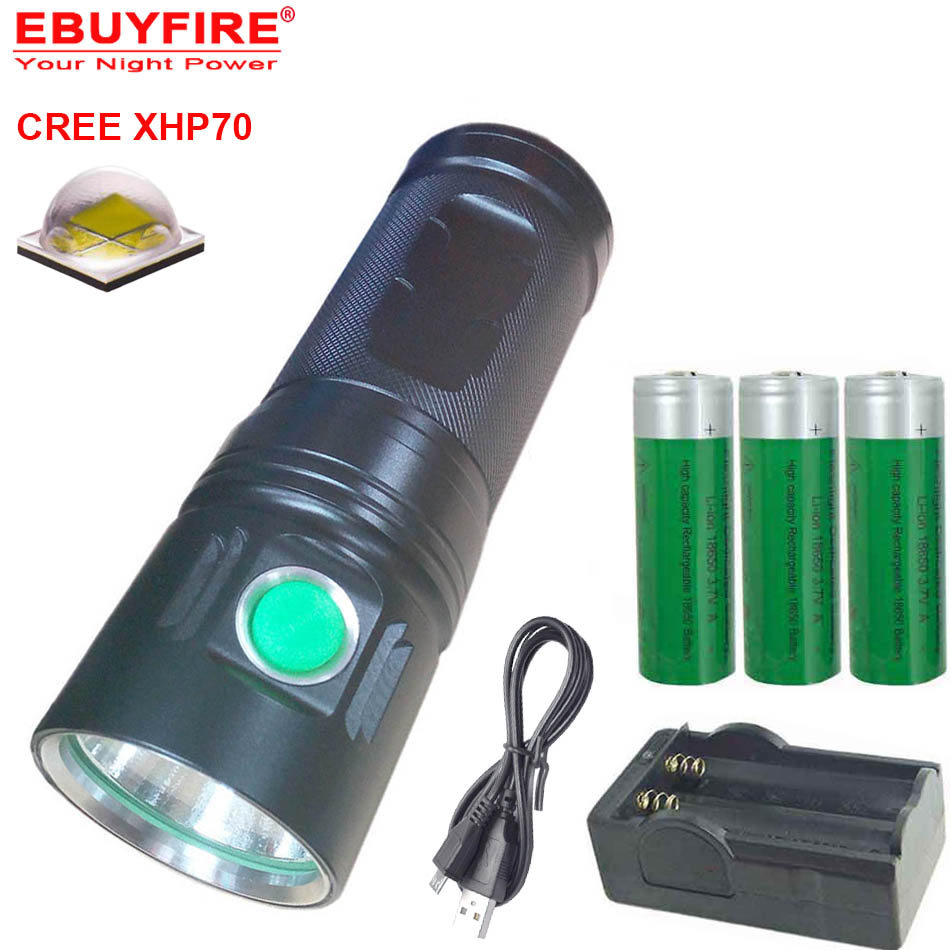 USB Flashlight Rechargeable 3500 lumens CREE XHP70 LED 18650 torch led lamp (3*18650 battery ,not include) led flashlight 5000 lumens cree xml t6 torch lamp flashlights powered by 1 piece 18650 battery