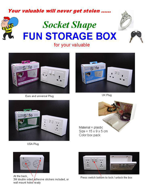 3 Model Wall Plug Socket Secret Money Hidden Security Safe Locker Money Safety Box Jewelry Safety Collection Case US/EU/UK