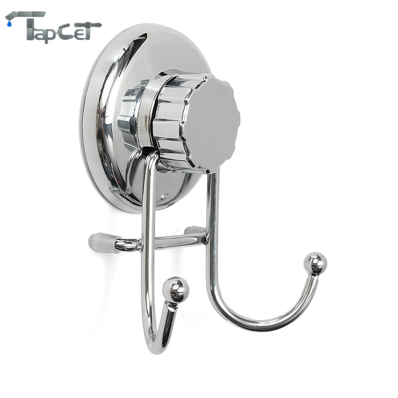 TAPCET Stainless Steel Removable Vacuum Suction Cup Robe Hooks Wall Hook Bathroom Kitchen Robe Hooks for Towel Robe