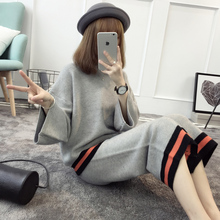 2018 Limited Full O neck Flare Sleeve New Clothing Wide Leg Pants Autumn Fashion Set Korean