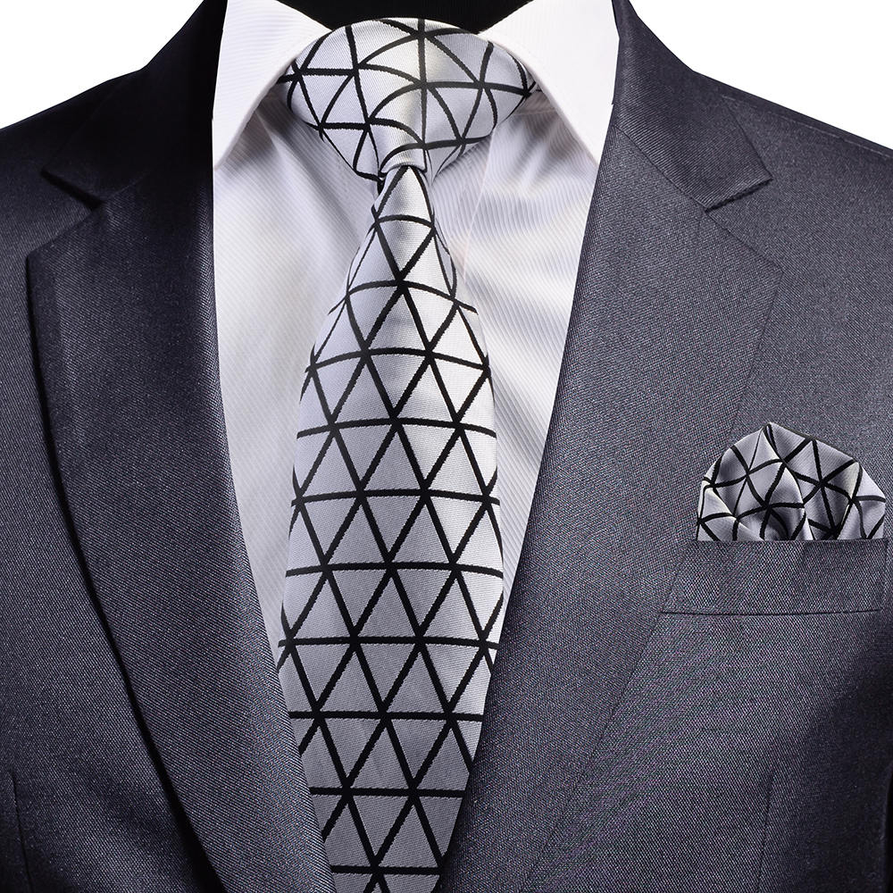 GUSLESON New Design Silk Tie Solid Silver Black Neck Tie Triangle Patter Plaid Necktie And Pocket Square Set For Party Wedding