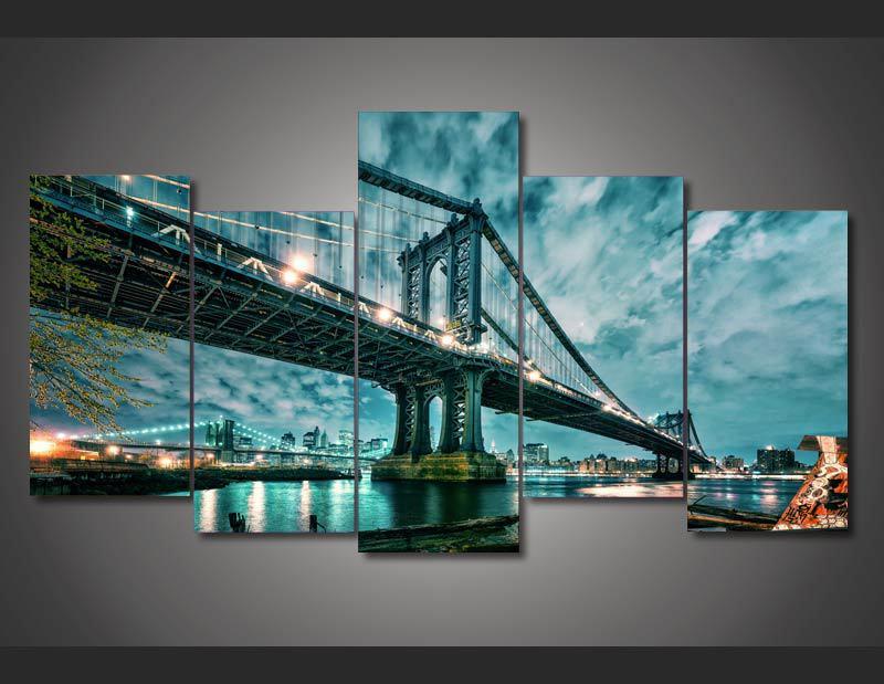 DY Moderne Dekorative Bild Gedruckt brooklyn manhattan brücke Malerei wandkunst dekor druckplakat...