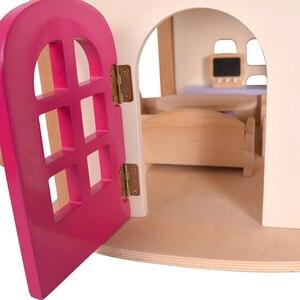 Image 4 - Maisons de poupée en bois pour filles, jouet de poupée en bois, maison pour enfants, Villa avec meubles de chambre de poupée, cadeau danniversaire, 7 kg