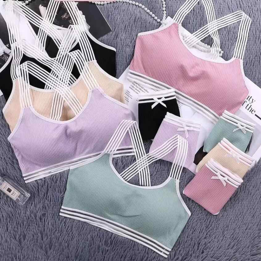 2019 Bras Sets Lingerie Sexy Women Wireless Full Cup Bras Sets Female Soft Padded Underwear Tops Fitness Solid Bras Tops