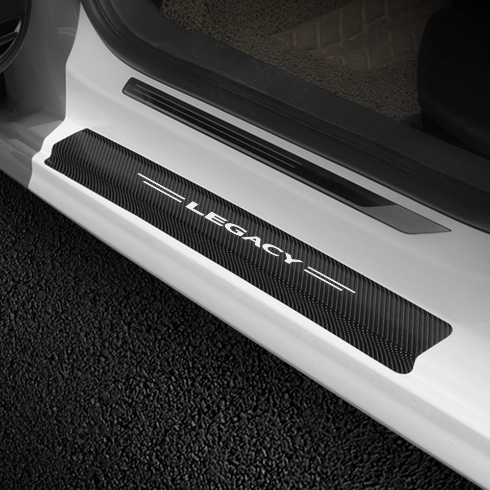 Image 3 - 4PCS/Set Carbon Fiber Car Scuff Plate Door Sill Sticker For Subaru Forester Impreza XV Ascent Legacy BRZ Outback WRX Accessories-in Car Stickers from Automobiles & Motorcycles