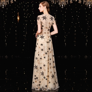 Image 2 - Jancember vestido フォーマル mujer 高ネック a ライン半袖イリュージョンスパンコールエレガントなカクテルドレス коктельное платье