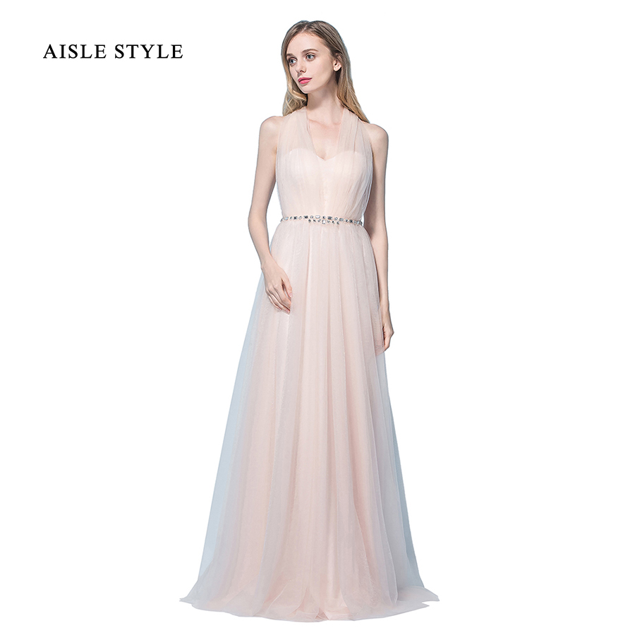 Online get cheap rustic bridesmaids dresses aliexpress aisle style blush bridesmaid dresses floor length halter v neck long rustic bridesmaid dress with crystal ombrellifo Images