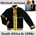 MJ Майкл Джексон Южная Африка Нельсон Мандела Тур Черный Военный Платье Куртка Золотой Рукава Хэллоуин Одежда в 1996 s