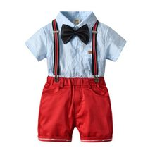 Summer New Drop Ship Little Gentleman Formal Costume Strip Shirt Suspender Pants Baby Boys Outfit Children Clothes(China)