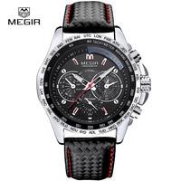 Megir 1010 New Fashion Luminous Man Quartz Watch Casual Leather Band Watches Men Analog Waterproof Wristwatch