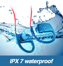 Bluetooth Ipx7 Waterproof Hifi Column Headphones Wire Phone Bass Wireless Earphone Earbuds Mp3 Ear Hook Running Sport  Earbuds ovevo x9 hifi bluetooth headphones ipx7 waterproof fish bionic 8g mp3 earphone with microphone handfree ear hook for swimming